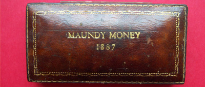 1887 brown leather maundy set case