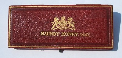 1887 red leather maundy set case