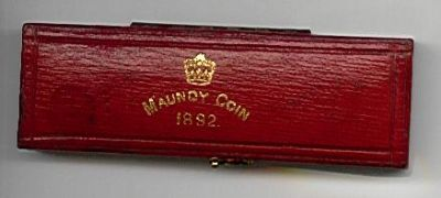 1892 maundy set case in red leather