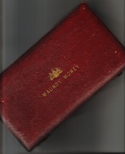 Undated Victorian 15 Set Case showing arms of Queen Victoria in gold on red leather.
