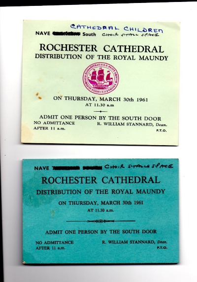 1961 Maundy service entry tickets.