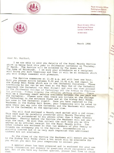 Original letters from Buckinham palace - 1986