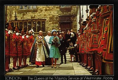 Undated postcard of the Queen at the Maundy Service at Westminster Abbey