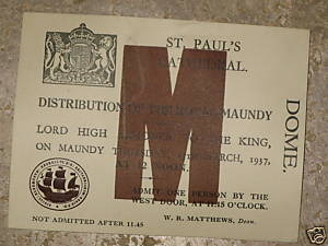1950 Maundy Service entry ticket.