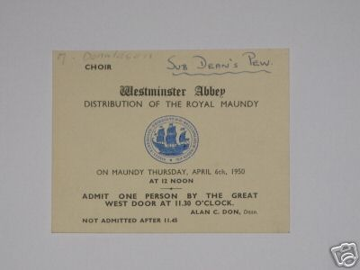 1950 Pink Maundy Service entry ticket.
