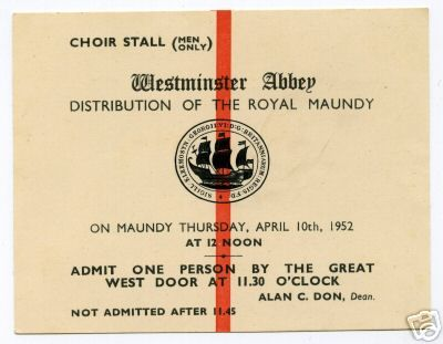 1952 Maundy Service entry ticket.