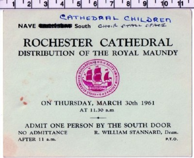 1961 Maundy Service entry ticket.
