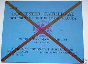 1961 Blue Maundy Service entry ticket.