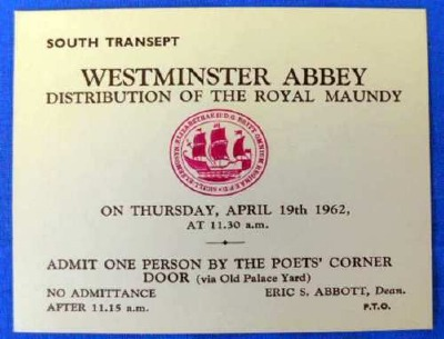 1962 Maundy Service entry ticket.