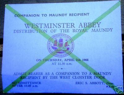 1966 Maundy Service entry ticket.