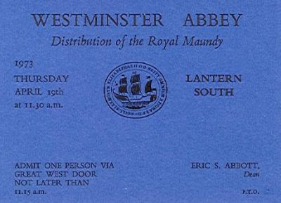 1973 Maundy Service entry ticket.