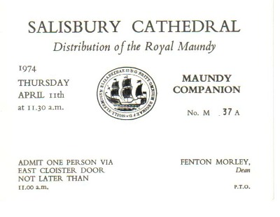 1974 Maundy Service entry ticket.