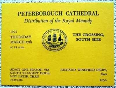 1975 Blue Maundy Service entry ticket.