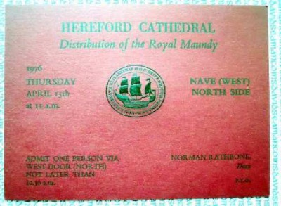 1976 Maundy Service entry ticket.