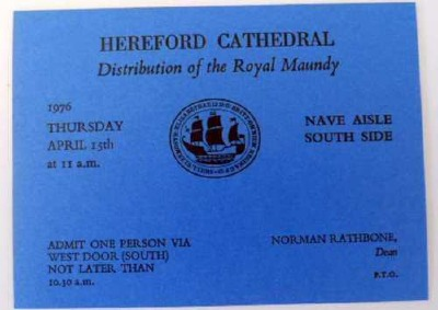 1976 Blue Maundy Service entry ticket.