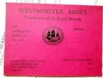 1977 Maundy Service entry ticket.