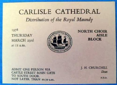 1978 Maundy Service entry ticket.