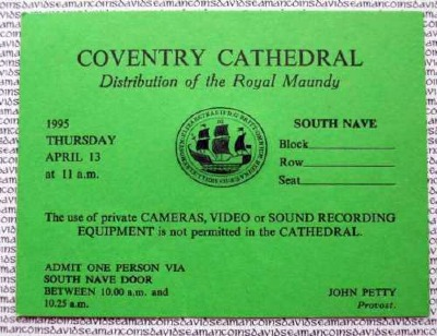 1995 Maundy Service entry ticket.