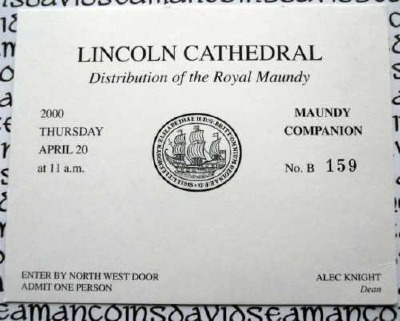 2000 Maundy Service entry ticket.