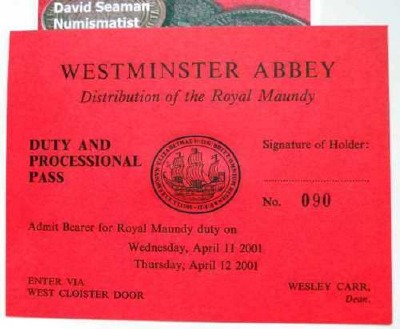 2001 Maundy Service entry ticket.