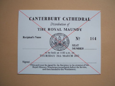 2002 Maundy Service entry ticket.
