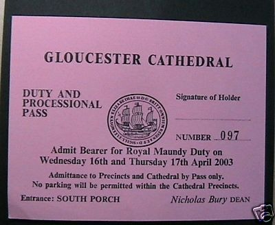 2003 Maundy Service entry ticket.