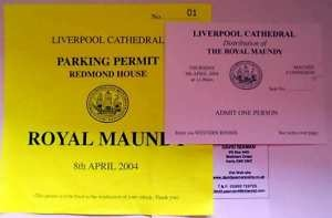 2004 Maundy Service entry ticket.